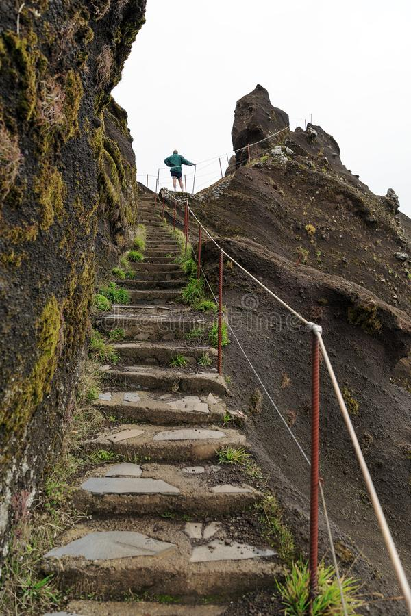 Trail to the top in Madeira royalty free stock images