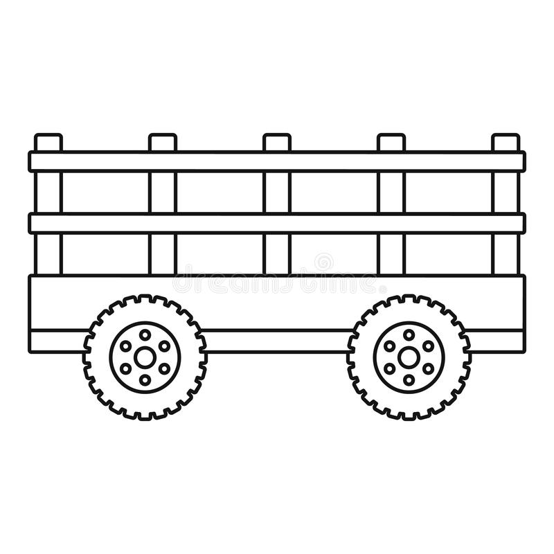 Trail tractor icon, outline style royalty free illustration