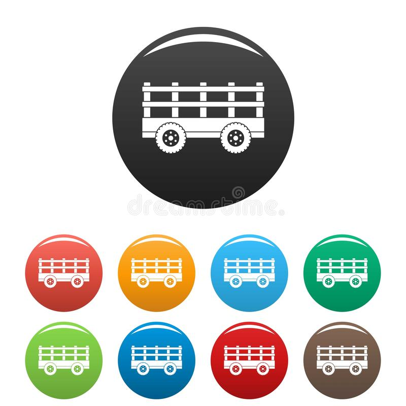 Trail tractor icons set color stock illustration
