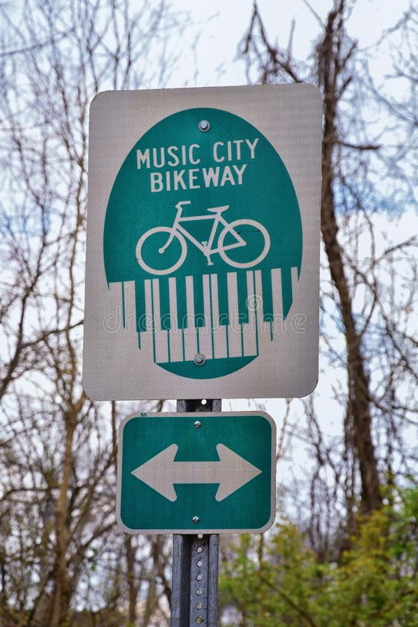 Trail and warning signs along the Shelby Bottoms Greenway and Natural Area Cumberland River frontage trails, Music City Nashville,. Tennessee. United States royalty free stock images