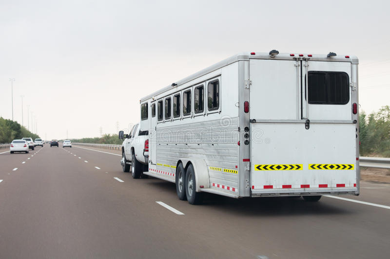 Trailer. Special built trailer for transporting animals such as camels and horses royalty free stock photos