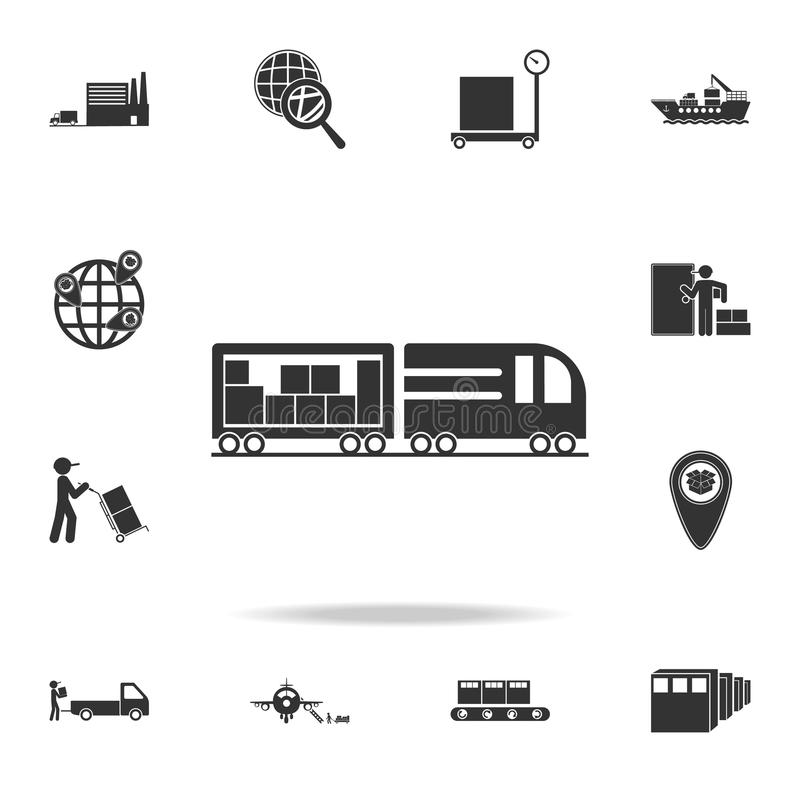 Trailer brings packing boxes icon. Detailed set of logistic icons. Premium graphic design. One of the collection icons for website. S, web design, mobile app on stock illustration