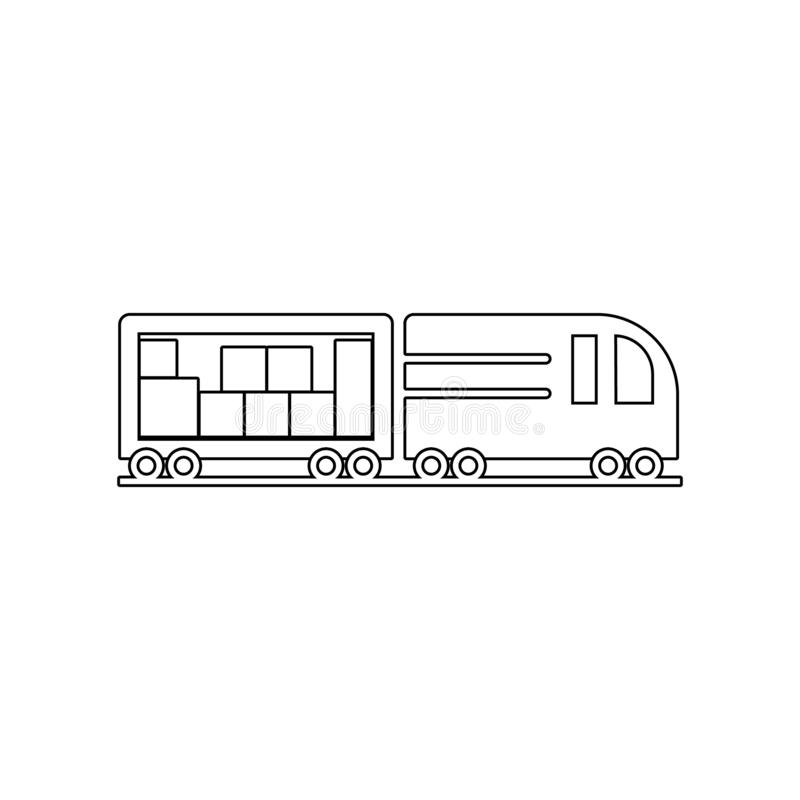 Trailer brings packing boxes icon. Element of Logistic for mobile concept and web apps icon. Outline, thin line icon for website. Design and development, app stock illustration