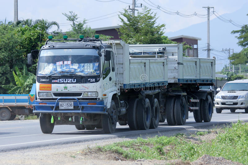 Trailer dump truck. CHIANGMAI, THAILAND - OCTOBER 31 2014: Trailer dump truck. Photo at road no.121 about 8 km from downtown Chiangmai, thailand stock image