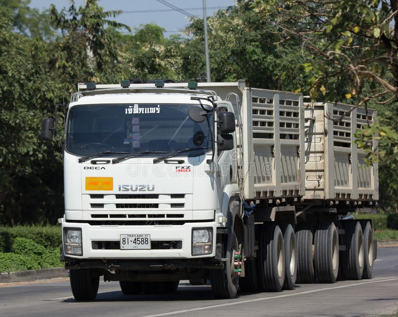 Trailer dump truck of Jaetik Phrae. CHIANG MAI, THAILAND -NOVEMBER 14 2017: Trailer dump truck of Jaetik Phrae. On road no.1001, 8 km from Chiangmai city stock image