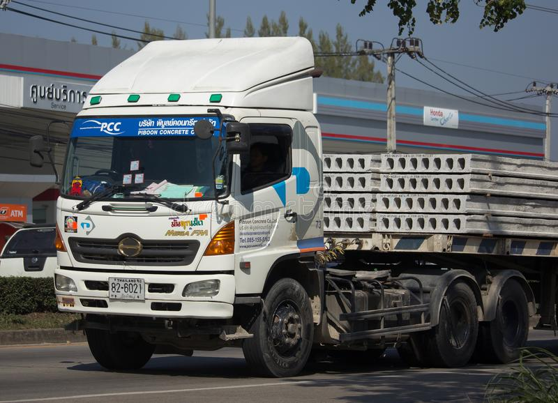 Trailer dump truck of Piboon Concrete. CHIANG MAI, THAILAND -JANUARY 9 2018: Trailer dump truck of Piboon Concrete. On road no.1001, 8 km from Chiangmai city royalty free stock photography