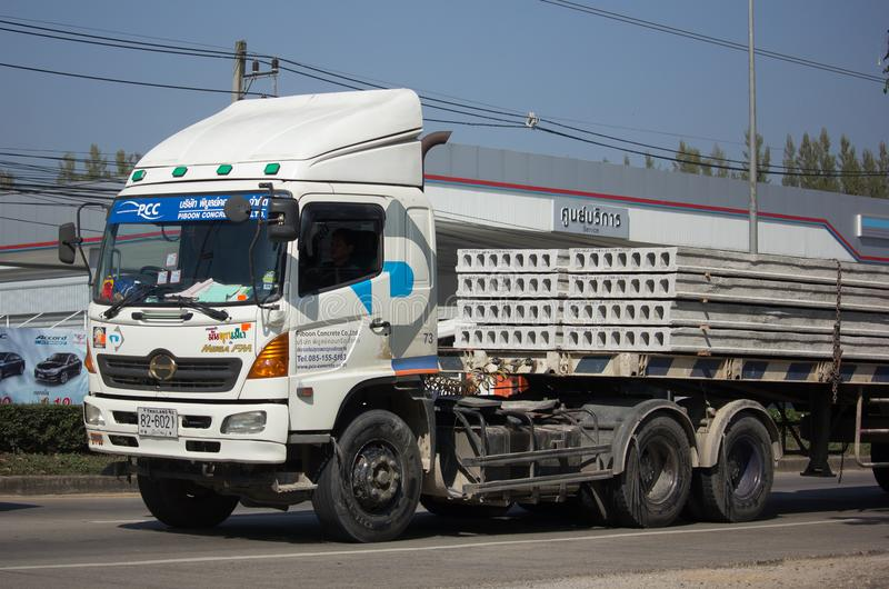Trailer dump truck of Piboon Concrete. CHIANG MAI, THAILAND -JANUARY 9 2018: Trailer dump truck of Piboon Concrete. On road no.1001, 8 km from Chiangmai city stock images