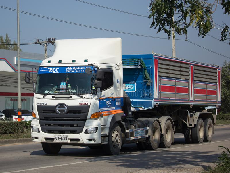Trailer dump truck of Piboon Concrete. CHIANG MAI, THAILAND -JANUARY 9 2018: Trailer dump truck of Piboon Concrete. On road no.1001, 8 km from Chiangmai city stock photos