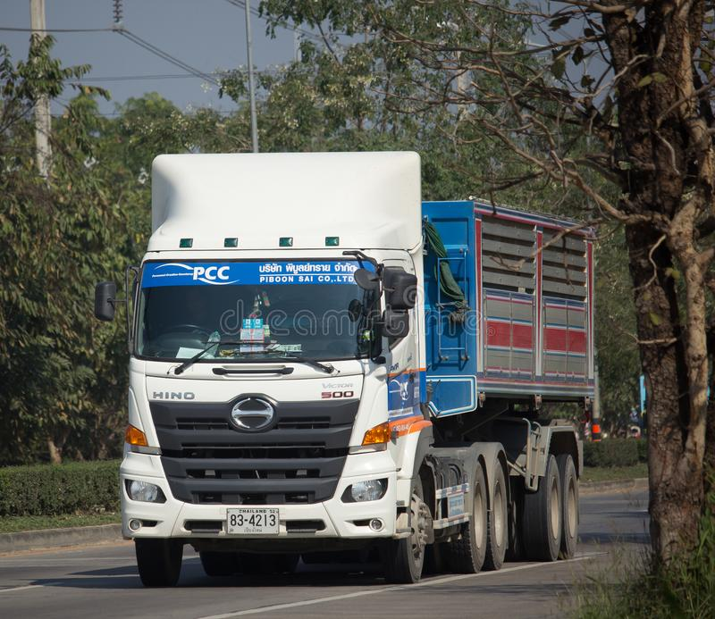 Trailer dump truck of Piboon Concrete. CHIANG MAI, THAILAND -JANUARY 9 2018: Trailer dump truck of Piboon Concrete. On road no.1001, 8 km from Chiangmai city stock image