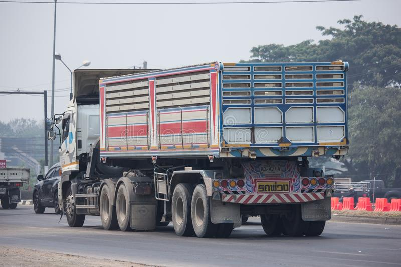 Trailer dump truck of Piboon Concrete. Chiangmai, Thailand - April 5 2019: Trailer dump truck of Piboon Concrete. On road no.1001, 8 km from Chiangmai city stock photos