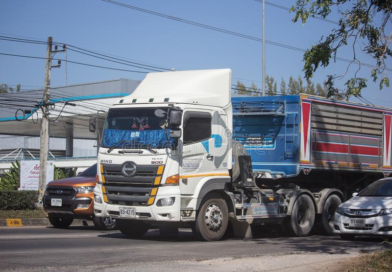 Trailer dump truck of Piboon Concrete. Chiangmai, Thailand - February 4 2019: Trailer dump truck of Piboon Concrete. On road no.1001, 8 km from Chiangmai city stock photo