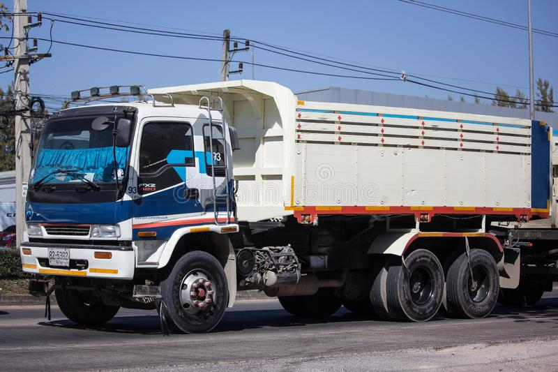 Trailer dump truck of Piboon Concrete. Chiangmai, Thailand - February 4 2019: Trailer dump truck of Piboon Concrete. On road no.1001, 8 km from Chiangmai city royalty free stock image