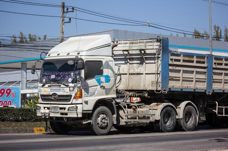 Trailer dump truck of Piboon Concrete. Chiangmai, Thailand - February 4 2019: Trailer dump truck of Piboon Concrete. On road no.1001, 8 km from Chiangmai city stock image