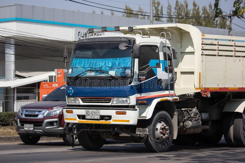 Trailer dump truck of Piboon Concrete. Chiangmai, Thailand - February 11 2019: Trailer dump truck of Piboon Concrete. On road no.1001, 8 km from Chiangmai city royalty free stock photography