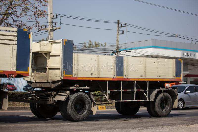Trailer dump truck of Piboon Concrete. Chiangmai, Thailand - February 11 2019: Trailer dump truck of Piboon Concrete. On road no.1001, 8 km from Chiangmai city stock photo