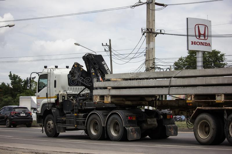 Trailer dump truck of Piboon Concrete. Chiangmai, Thailand - June 13 2019: Trailer dump truck of Piboon Concrete. On road no.1001, 8 km from Chiangmai city stock photo