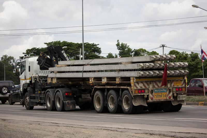 Trailer dump truck of Piboon Concrete. Chiangmai, Thailand - June 13 2019: Trailer dump truck of Piboon Concrete. On road no.1001, 8 km from Chiangmai city royalty free stock photo