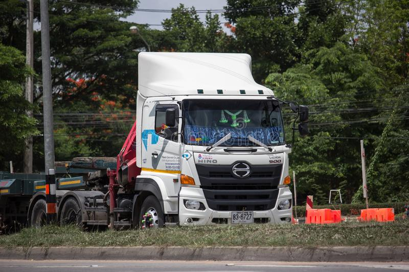 Trailer dump truck of Piboon Concrete. Chiangmai, Thailand - June 13 2019: Trailer dump truck of Piboon Concrete. On road no.1001, 8 km from Chiangmai city stock images