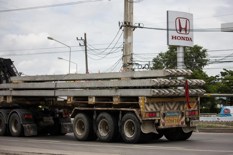 Trailer dump truck of Piboon Concrete. Chiangmai, Thailand - June 13 2019: Trailer dump truck of Piboon Concrete. On road no.1001, 8 km from Chiangmai city royalty free stock photos