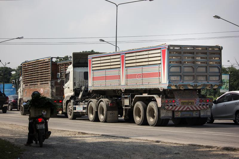 Trailer dump truck of Piboon Concrete. Chiangmai, Thailand - October 8 2018: Trailer dump truck of Piboon Concrete. On road no.1001, 8 km from Chiangmai city stock image