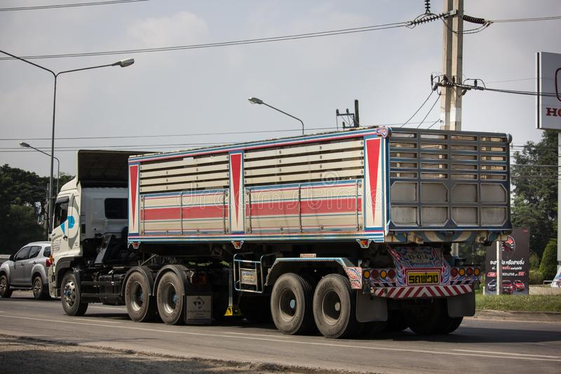 Trailer dump truck of Piboon Concrete. Chiangmai, Thailand - October 8 2018: Trailer dump truck of Piboon Concrete. On road no.1001, 8 km from Chiangmai city royalty free stock photos