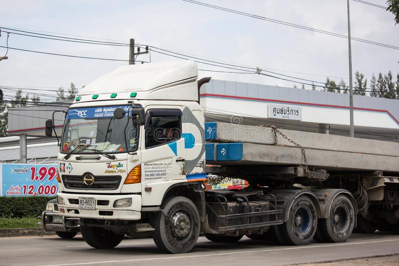 Trailer dump truck of Piboon Concrete. Chiangmai, Thailand - September 6 2018: Trailer dump truck of Piboon Concrete. On road no.1001, 8 km from Chiangmai city royalty free stock image