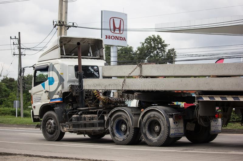 Trailer dump truck of Piboon Concrete. Chiangmai, Thailand - September 6 2018: Trailer dump truck of Piboon Concrete. On road no.1001, 8 km from Chiangmai city royalty free stock photography