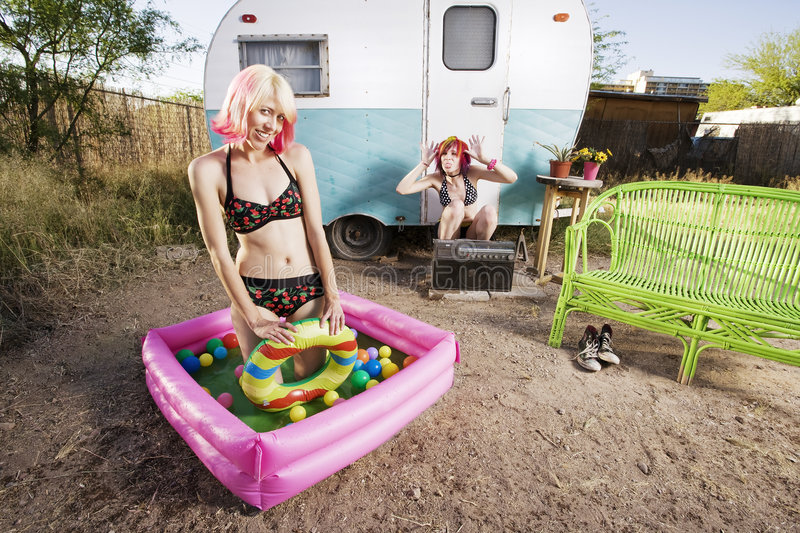 Trailer Girls stock photography