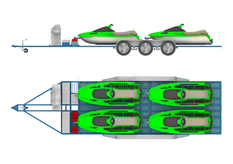 Trailer with group Jet Ski 3d rendering. Trailer with group Jet Ski. 3d rendering stock illustration