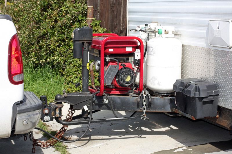 Trailer hitch and generator stock photo
