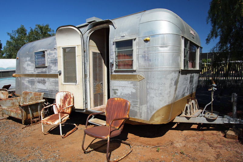 Trailer home with windows stock photo