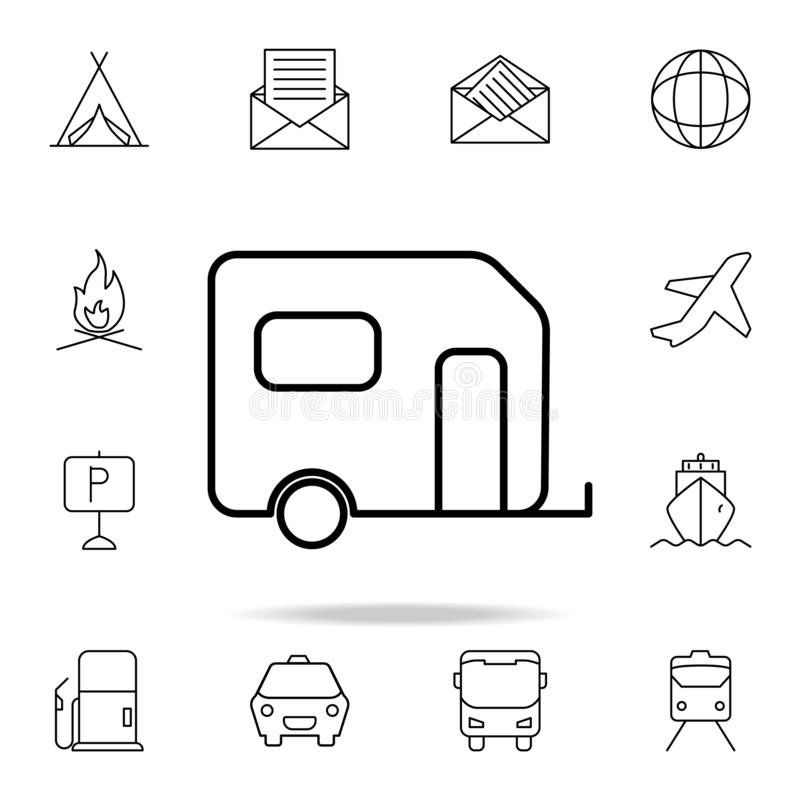 Trailer house on wheels icon. Element of simple icon for websites, web design, mobile app, info graphics. Thin line icon for. Website design and development vector illustration