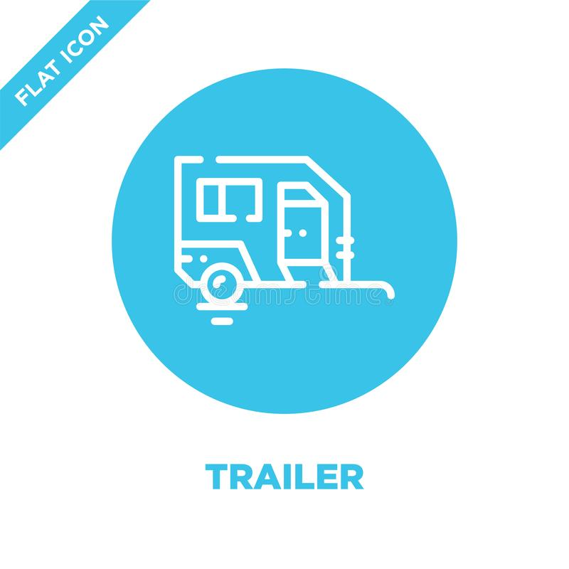 Trailer icon vector from camping collection. Thin line trailer outline icon vector  illustration. Linear symbol for use on web and. Mobile apps, logo, print stock illustration