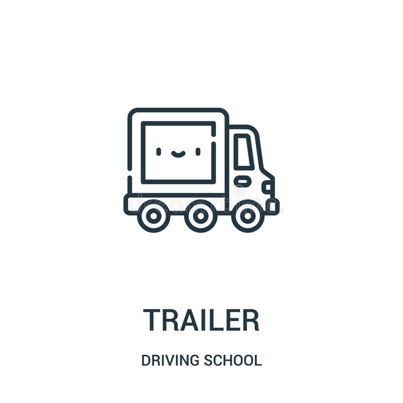Trailer icon vector from driving school collection. Thin line trailer outline icon vector illustration. Linear symbol for use on web and mobile apps, logo royalty free illustration