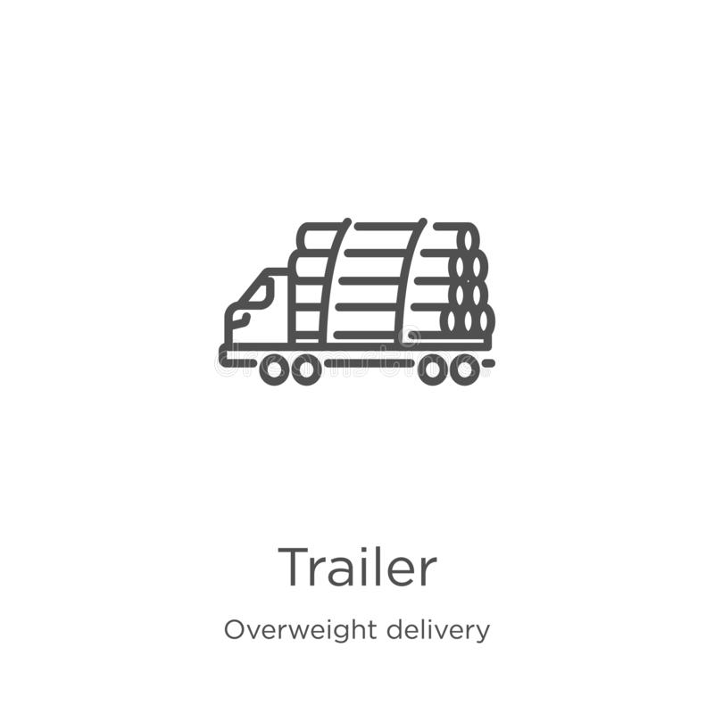 trailer icon vector from overweight delivery collection. Thin line trailer outline icon vector illustration. Outline, thin line stock illustration