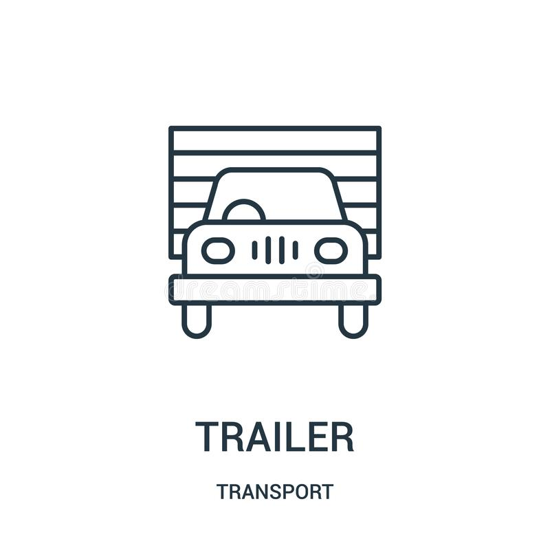 Trailer icon vector from transport collection. Thin line trailer outline icon vector illustration. Linear symbol for use on web and mobile apps, logo, print vector illustration