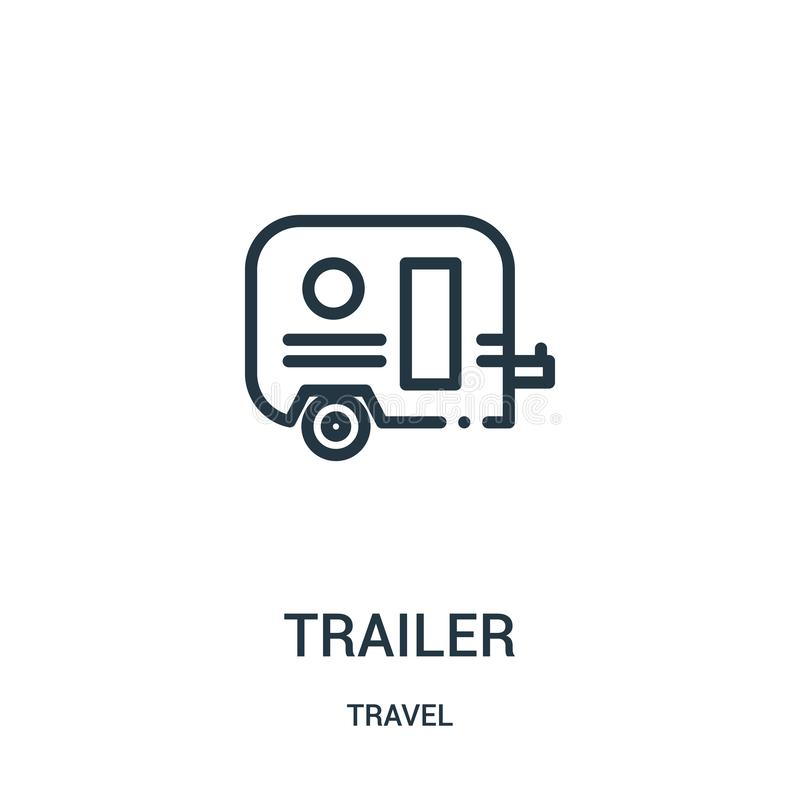 Trailer icon vector from travel collection. Thin line trailer outline icon vector illustration. Linear symbol for use on web and. Mobile apps, logo, print media stock illustration