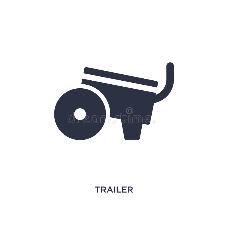 Trailer icon on white background. Simple element illustration from farming and gardening concept. Trailer icon. Simple element illustration from farming and vector illustration