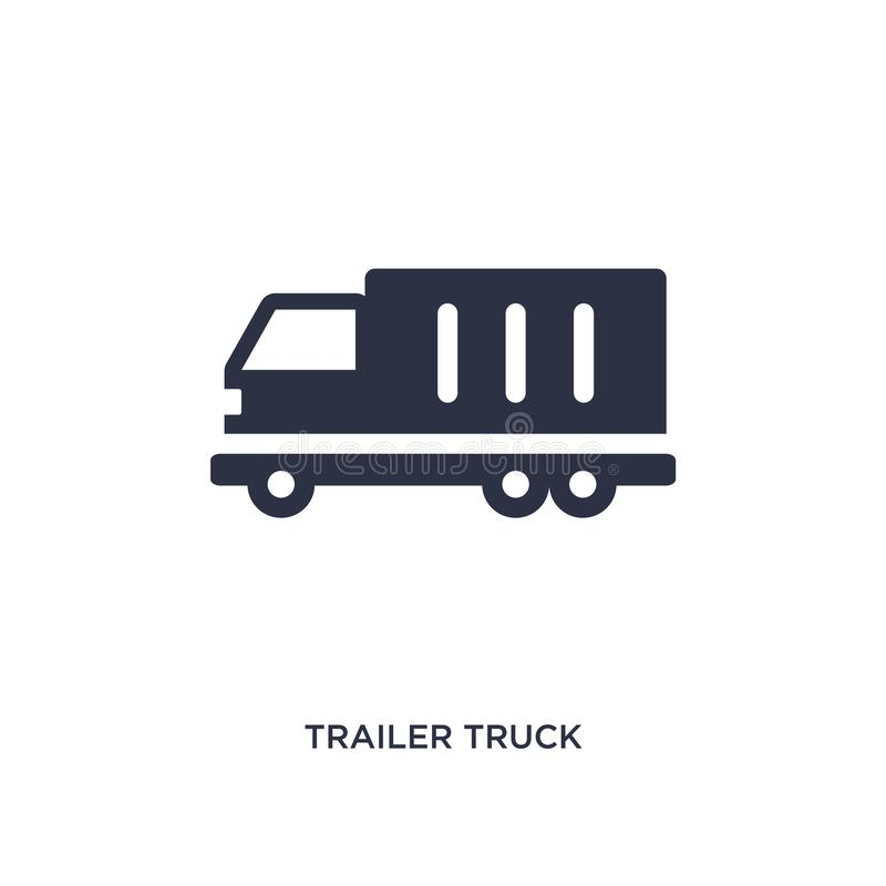 Trailer truck icon on white background. Simple element illustration from airport terminal concept. Trailer truck icon. Simple element illustration from airport vector illustration