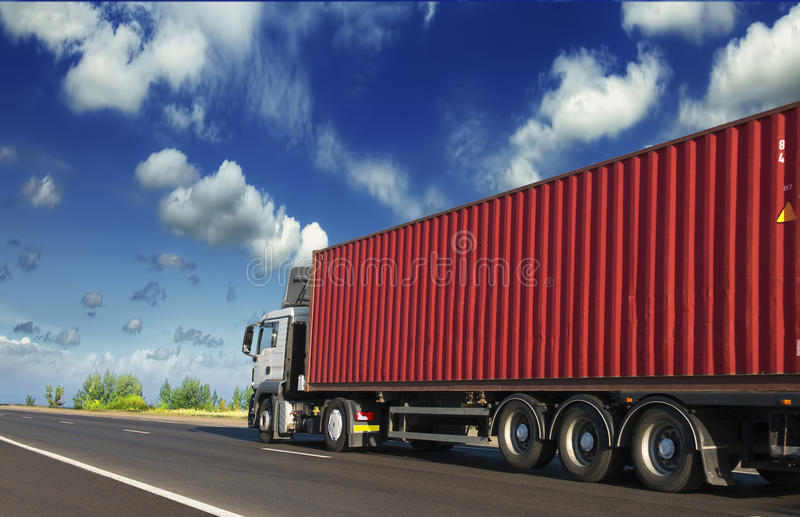 Trailers carrying containers royalty free stock photo