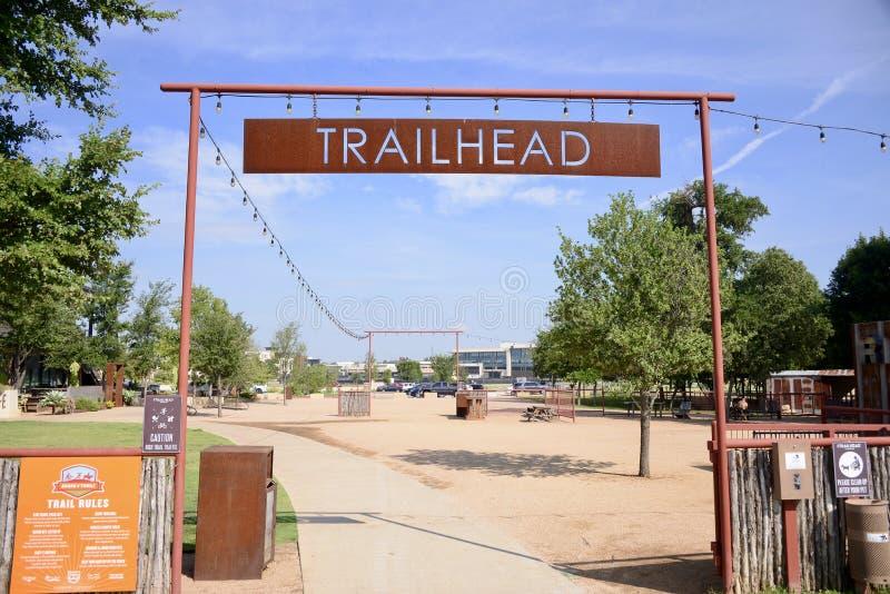 Trailhead Clearfork Plenerowy park, Fort Worth Teksas fotografia stock