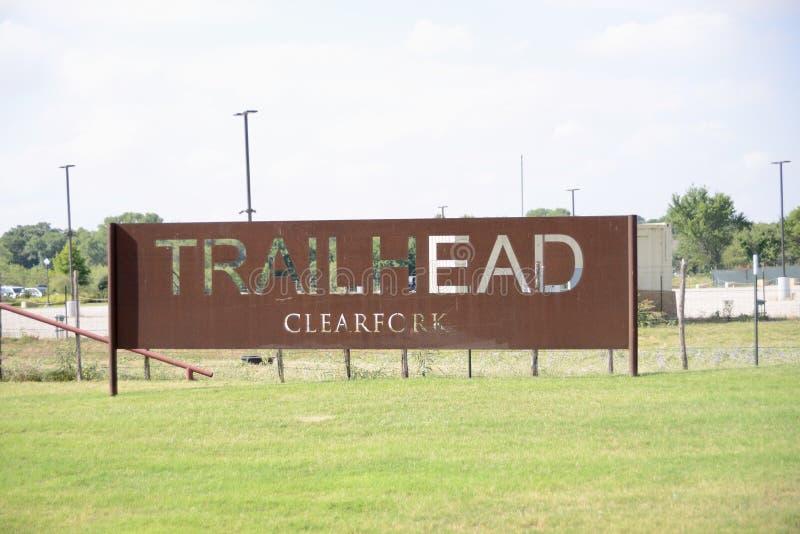 Trailhead Clearfork wejście, Fort Worth Teksas fotografia royalty free