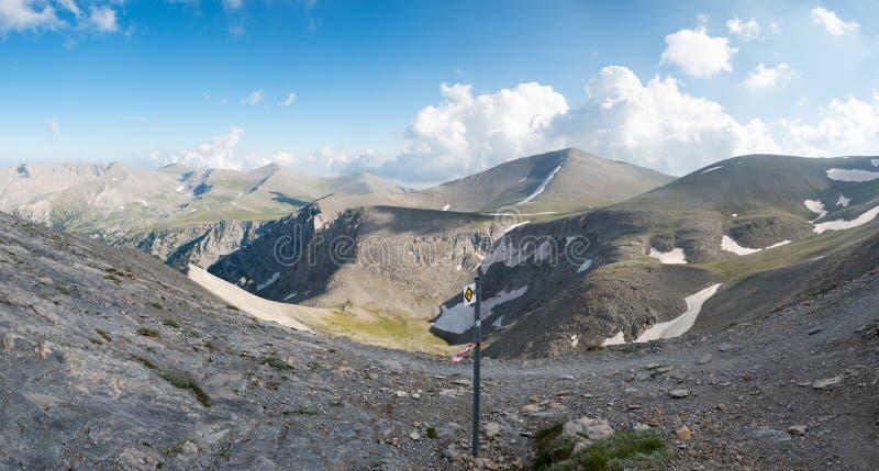 trailway在奥林匹斯山山顶  库存图片