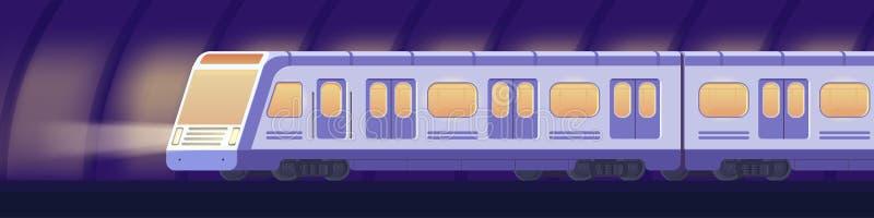Train à grande vitesse électrique moderne de Passanger Transport ferroviaire de souterrain ou de métro dans le tunnel Vecteur sou illustration de vecteur