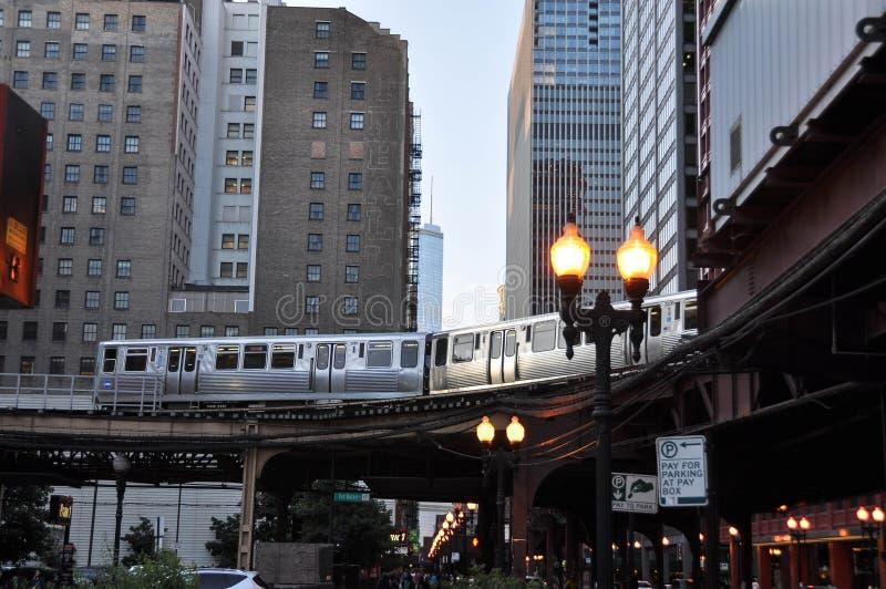 Train élevé Chicago images libres de droits