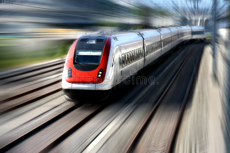 Train. Moving train. Motion blur