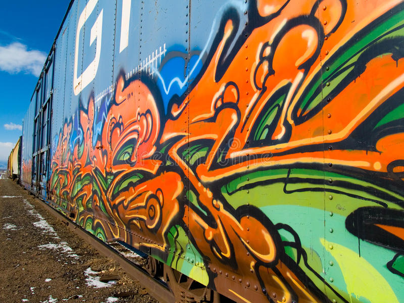 Train. Graphiti on a train. Well done with many colors royalty free stock photography
