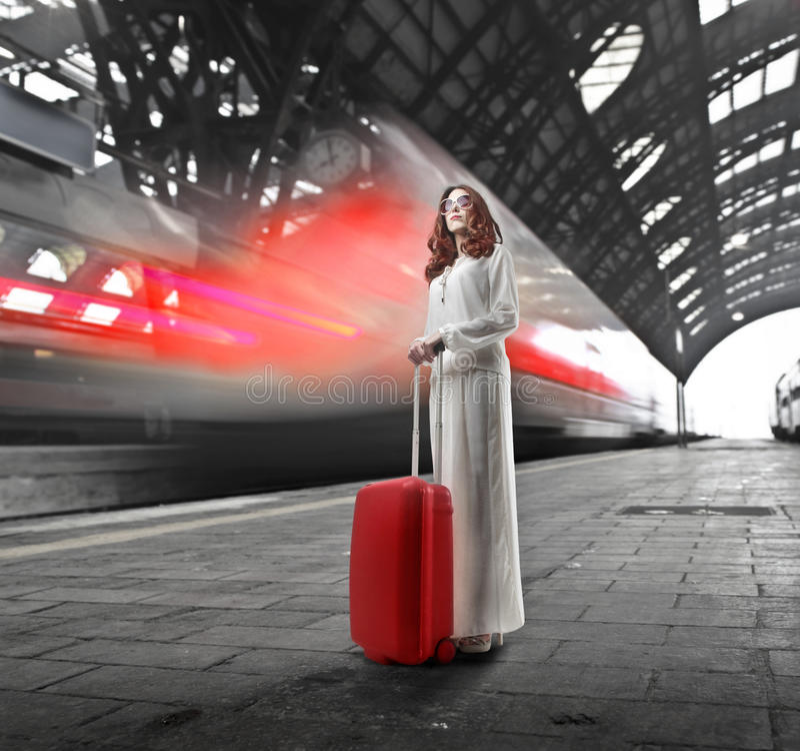 Download Train stock image. Image of light, line, clock, rail - 28258055
