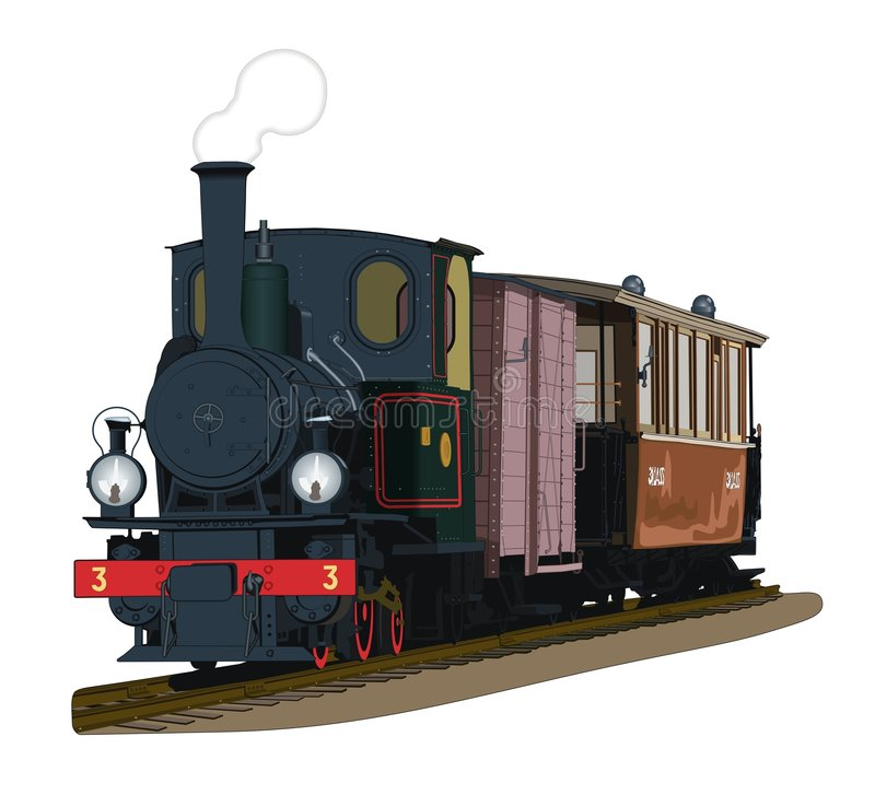 Download Train stock vector. Image of fashioned, illustration, engine - 7586693