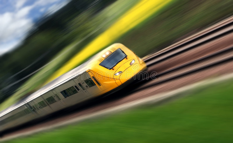 Train. In motion stock photo